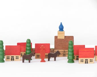 Small Vintage Wooden Village Set - Made in Germany - German Wooden Village - Vintage Village Set - Old Toys