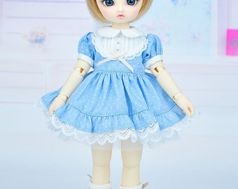 Limited : Pastel Blue dot dress for Yo-SD