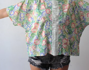 1980s oversized cotton hummingbird Hawaiian shirt