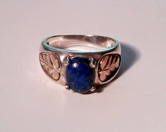 Vintage Sterling Silver, Gold, and Lapis Lazuli RIng