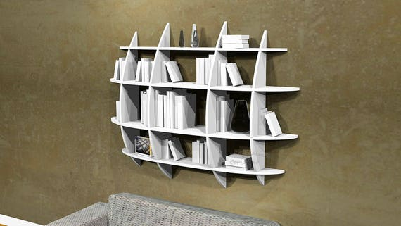 biblioth que murale design fixations invisibles ovoide. Black Bedroom Furniture Sets. Home Design Ideas