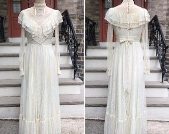 1970s Gunne Sax Edwardian Style Wedding Dress | Vintage Garden Party Dress