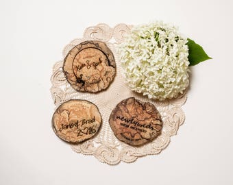 100 Wedding Favours - Driftwood - Wood Coasters - Engraved - Wood Slice - Sustainable Gift - Eco Houseware - Rustic