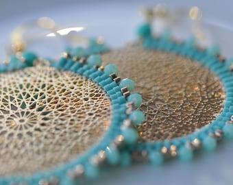 Turquoise Delica miyukis, Faceted blue crystals, Lasercut gold center, very light, beaded, Mandala, dangle, circular handmade earrings