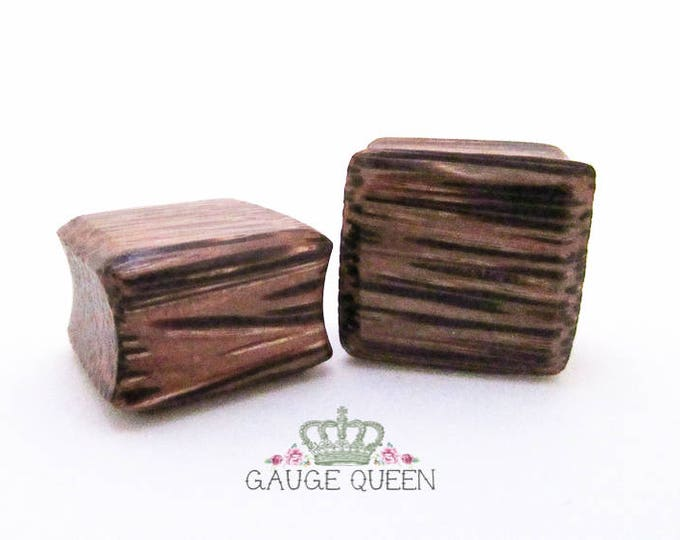 "Coconut Wood Square Plugs / Gauges. 0g / 8mm, 9/16"" / 14mm, 5/8"" / 16mm, 7/8"" / 22mm, 1"" / 25mm - Sale Plugs - Reduced to Clear"