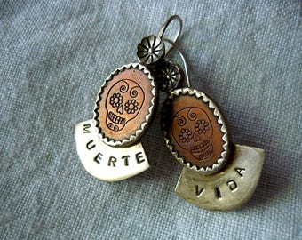 Pair Dia de los Muertos, Day of the Dead, copper and silver earrings