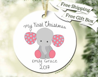 My First Christmas Ornament | 1st Christmas | Baby Girl Ornament | Baby Elephant Ornament | Baby Gift | Custom Ornament | Christmas Gift F05
