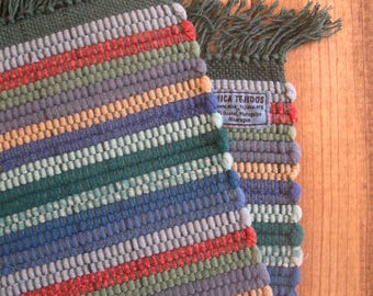 Shades of Blue, Green, Burnt Orange, and Gold Handwoven Nicaraguan Placemats Set of Two