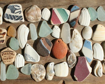 beach pottery seapottery  sea shells seashells sea glass seaglass top drilled craft supplies jewelry supply jewellery (lt651)