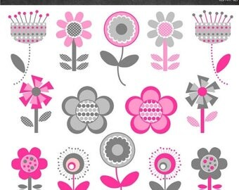 50% OFF Funky Flowers Clipart - Pink and Grey - Instant Download