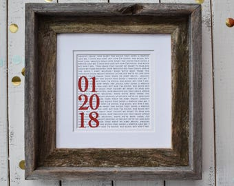 Anniversary Gifts | Anniversary Gifts for Women | Framed First Dance Lyrics or Wedding Vows 8X8