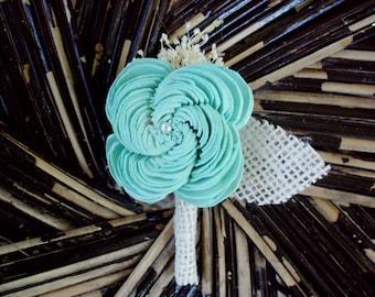 Mint blue boutonniere | rustic boutonniere | sola boutonniere | rustic wedding | beach boutonniere | beach wedding | sola flower