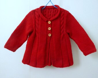 Red knit baby cardigan, baby girl sweater, knitted baby clothes, baby girls cardigan 3 to 8 months