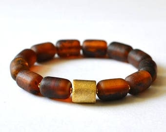 Baltic Amber bracelet / Natural Amber Jewelry / Pure Amber Bracelet / Gold Bracelet