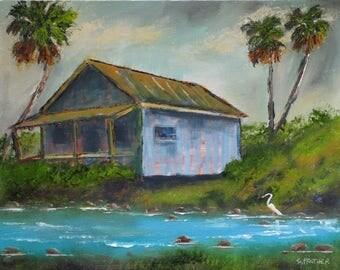 "Original Tropical Florida Landscape Oil Painting S Prather ""Shack on the River"""