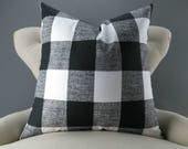 Black White Pillow Cover -BIG SIZES!- Euro Sham, Floor Cushion, Buffalo Check Pattern (24x24 26x26 28x28 inch) Anderson Plaid Premier Prints