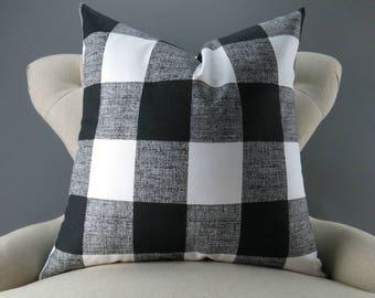 Black White Pillow Cover -BIG SIZES!- Euro Sham, Floor Cushion, Buffalo Check Pattern (24x24 26x26 28x28 inch) Anderson Plaid Premier Prints
