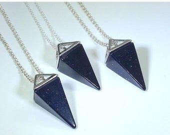 10% off SALE Blue Sandstone Necklace Triangle Necklace Mens Jewelry Blue Sandstone Pendant on Sterling Silver Mens Necklace Blue Sandstone J