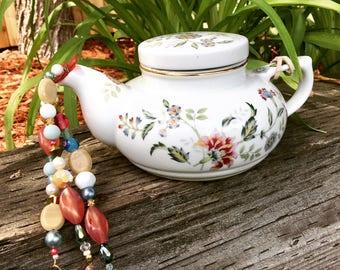 Recycled Tea Pot, Hanging Garden Decoration, Upcycled Tea Pot Mobile, Wind Chime, Beaded Sun Catcher, Repurposed Tea Pot Art, Kitchen Decor