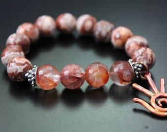 RESERVED for Lynn - Artisan copper hand charm bracelet - fall changing leaves gemstone bracelet - Rosetta lace agate boho stretch bracelet