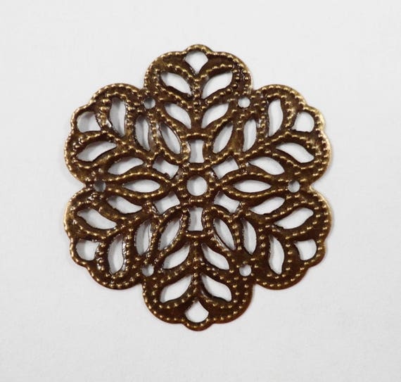 Bronze Filigree Connector Pendants 26mm Antique Brass Snowflake Connector Charms, Thin Flexible Charms, Aluminum Jewelry Findings, 15pcs