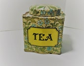 Vintage Crownford Giftware Tea Collectible Tin Box with Lid