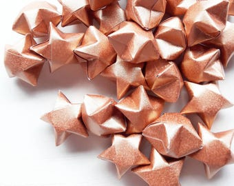 50 metallic rose gold paper origami stars without quotes- rose gold wedding decor - wedding favour - custom