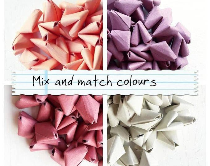 100 paper origami heart love messages mix of 2 colours - wedding favour - table confetti - serving and dining - personalised wedding