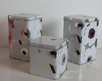 "Silver color  ""Unikko"" ""Poppy"" tin set by Marimekko Finland"
