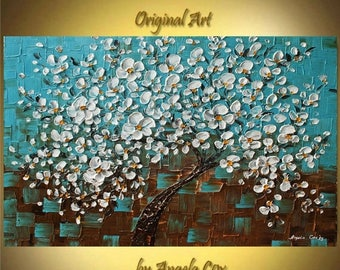 SALE Original Modern  Aqua White Cherry Tree Acrylic Heavy Impasto Palette Knife  Painting. Made2 Order.