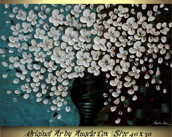 Original  White Flowers  Acrylic Impasto Textured Fine Art   Palette Knife Painting. 40 x 30.