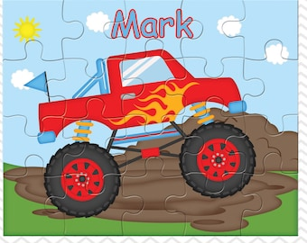 Monster Truck Personalized Puzzle, Personalized Monster Truck Puzzle, Personalized Kids Puzzle