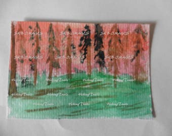 Hand Painted ACEO, Sunset Forest, watercolor, woodland style, miniature forest art,Fine Art Watercolor by Sharon at HikingTrails