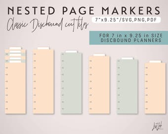 5 Nested PAGE MARKERS for CLASSIC Discbound Planners – Die Cutting File Set - svg, png, pdf