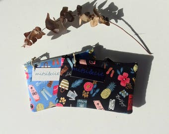 Pochette molletonnée en tissu Bon Voyage (2 coloris au choix)