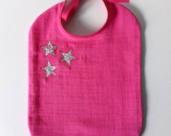 Baby bib cloth diaper in fuchsia and Liberty Katie and Millie stars