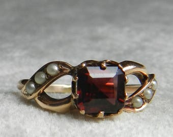 Victorian Engagement Ring Rose Gold Cushion Cut Garnet Seed Pearl Ring Alternative Engagement Infinity Ring Rose Gold Ring