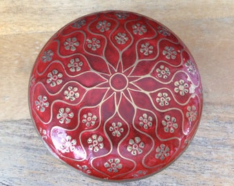 India solid brass & red enamel flower lidded bowl