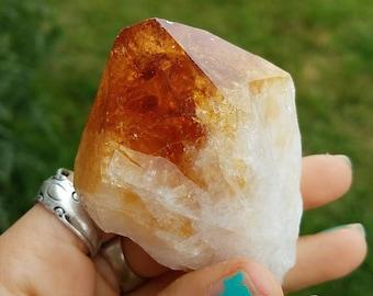 Large Deep Orange Citrine Crystal Point- supreme glow, gorgeous sparkle- gemstone goddess abundance creativity chakra healing // CP5