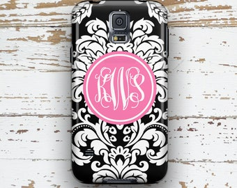 Floral Samsung Note 3 case, Damask S5 case, Pink S6 case, Pretty S6 Edge case, Christmas gift idea for sisters Flowers Pink and black (9759)