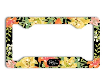 Monogrammed floral custom license plate frame with name, Black yellow orange, Christmas present for first car drivers, Sweet 16 gift (1810)