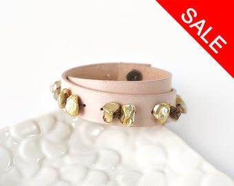 Double Strap Leather Cuff Bracelet with Keishi Freshwater Pearls, Light Peach Genuine Leather Accessories
