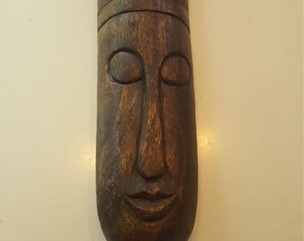 Standing Wood Face Carving