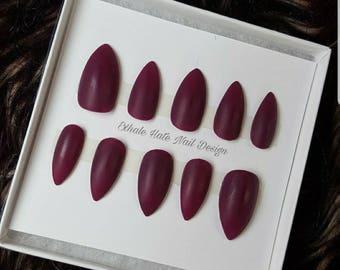 Maroon - Fake Nails - Press On Nails - Matte Nails - Stiletto, Oval, Square, Coffin/Ballerina