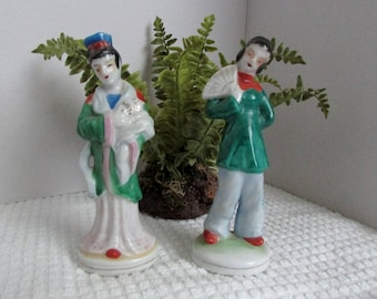 Asian Figurines, Set of 2, Brightly Colored, Hand Painted, Made in Occupied Japan, Oriental Decor, Shelf Sitters ~ BreezyJunction.etsy.com