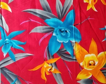 ON SALE Vintage 1950's Tropical, Floral, Fabric, 2.9 yards, 100% Polynosic Rayon, Made in Japan, Rayon Fabric, Red, Blue, Orange, Orchid Flo