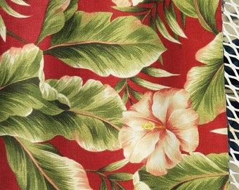 """ON SALE John Wolf Richloom Polyester Upholstery Outdoor fabric, Hibiscus, Red, Green, Pink, Yellow, Fabric Remnant, 27 1/2"""" wide by 54"""" long"""