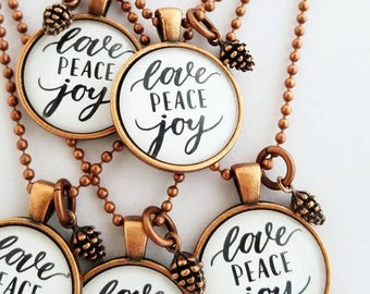 love peace joy pendant necklace gift for her christmas jewelry stocking stuffer