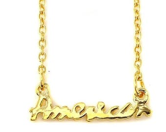 ON SALE American nameplate Necklace in Sterling Silver