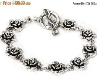ON SALE Charm Bracelet Roses Sterling Silver